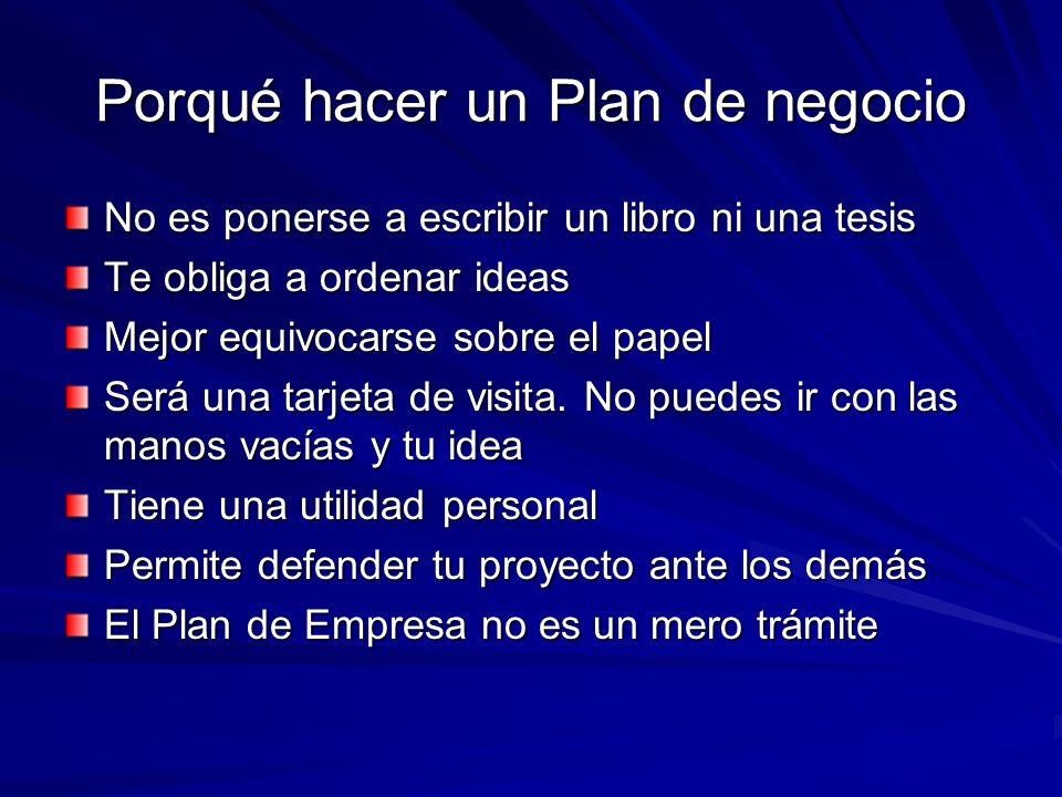 Porqué hacer un Plan de negocio
