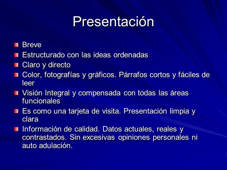 Presentación Breve Estructurado con las ideas ordenadas