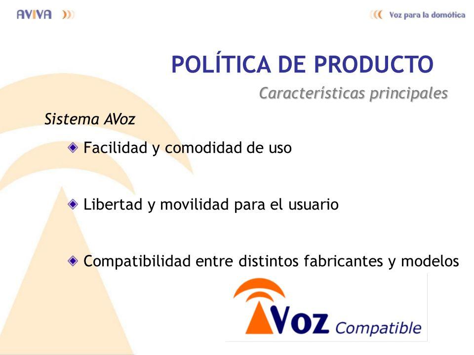 POLÍTICA DE PRODUCTO Características principales Sistema AVoz