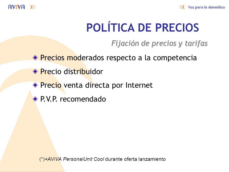 POLÍTICA DE PRECIOS Fijación de precios y tarifas