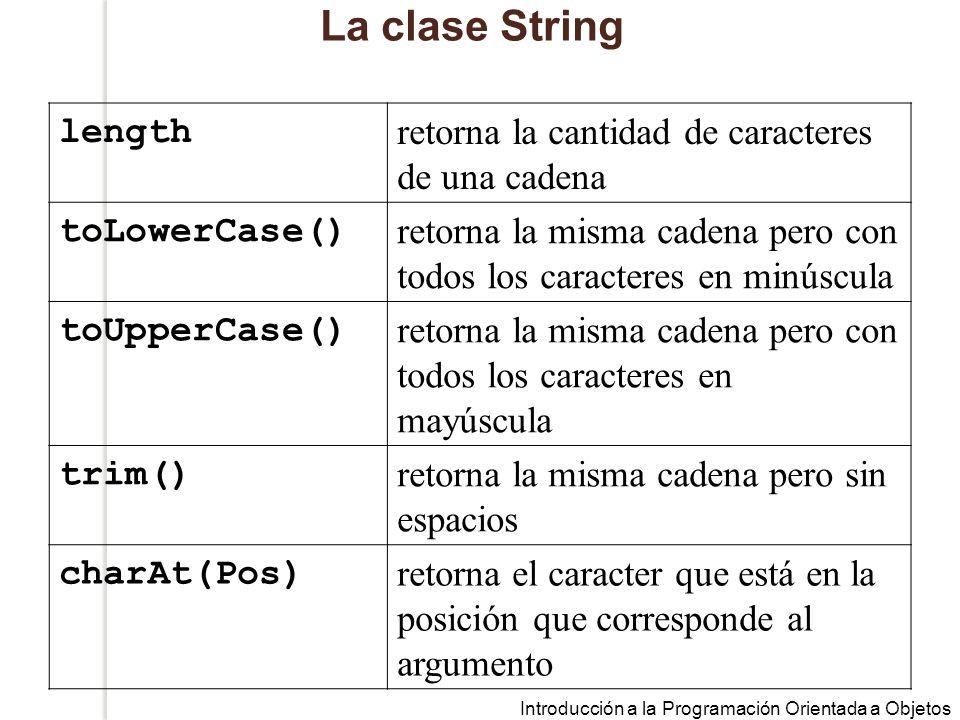 La clase String length retorna la cantidad de caracteres de una cadena