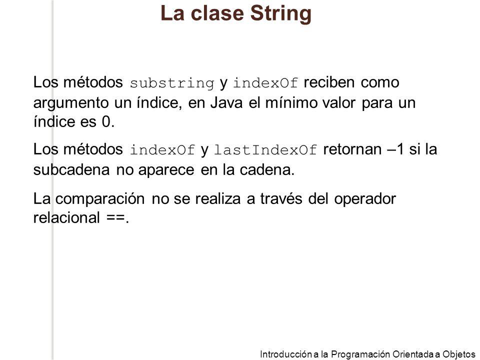 La clase String Los métodos substring y indexOf reciben como argumento un índice, en Java el mínimo valor para un índice es 0.