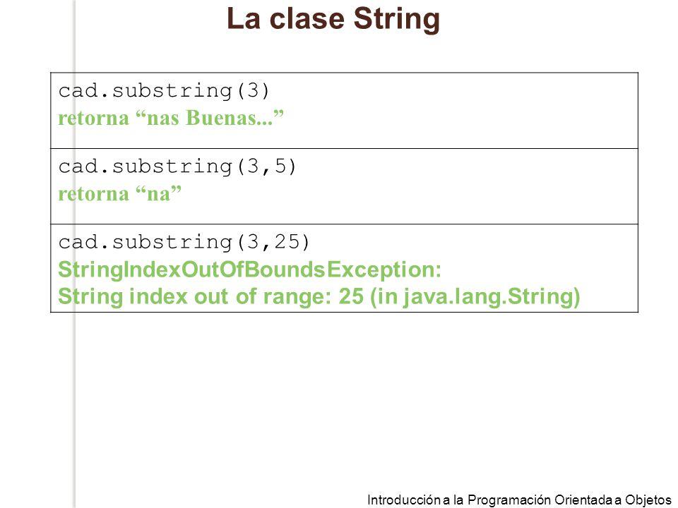 La clase String cad.substring(3) retorna nas Buenas...
