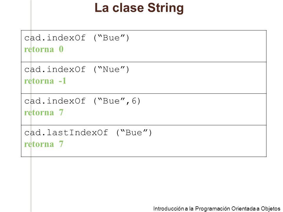La clase String cad.indexOf ( Bue ) retorna 0 cad.indexOf ( Nue )