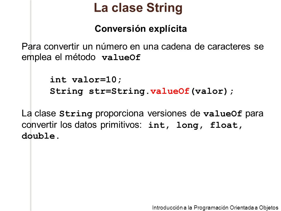 La clase String Conversión explícita