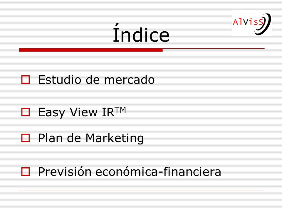 Índice Estudio de mercado Easy View IRTM Plan de Marketing