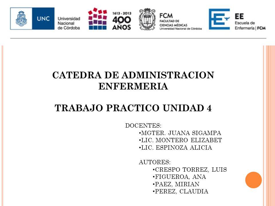 CATEDRA DE ADMINISTRACION ENFERMERIA TRABAJO PRACTICO UNIDAD 4