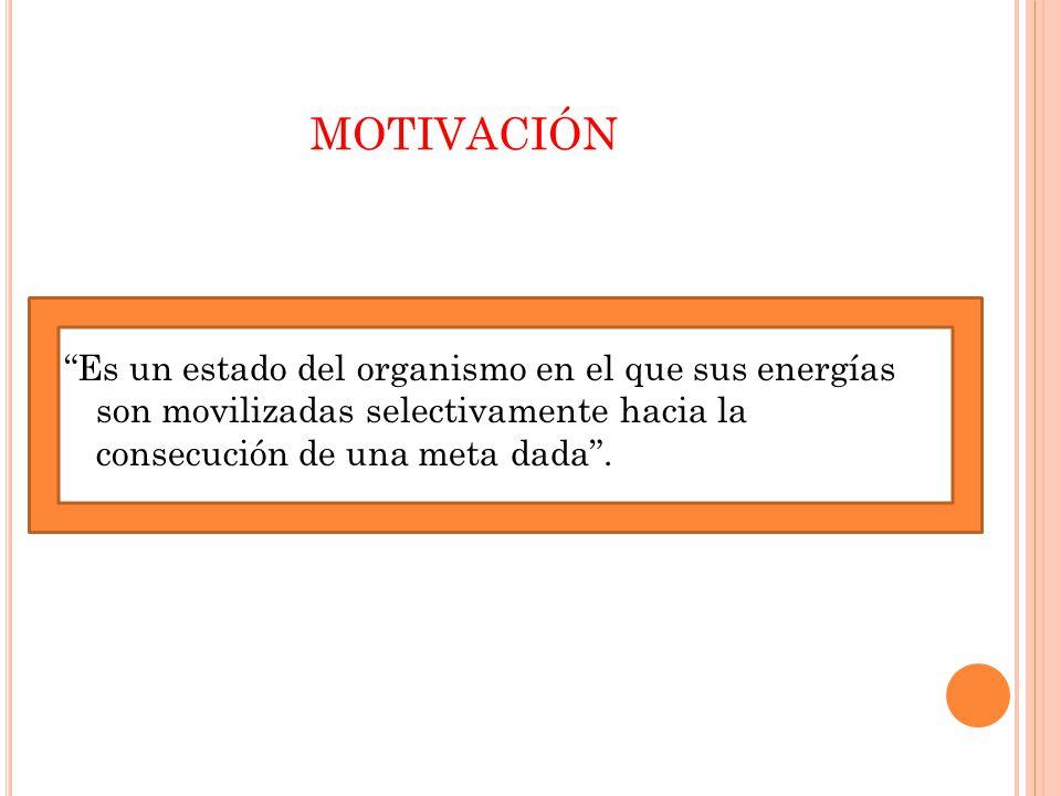 MOTIVACIÓN Es un estado del organismo en el que sus energías son movilizadas selectivamente hacia la consecución de una meta dada .