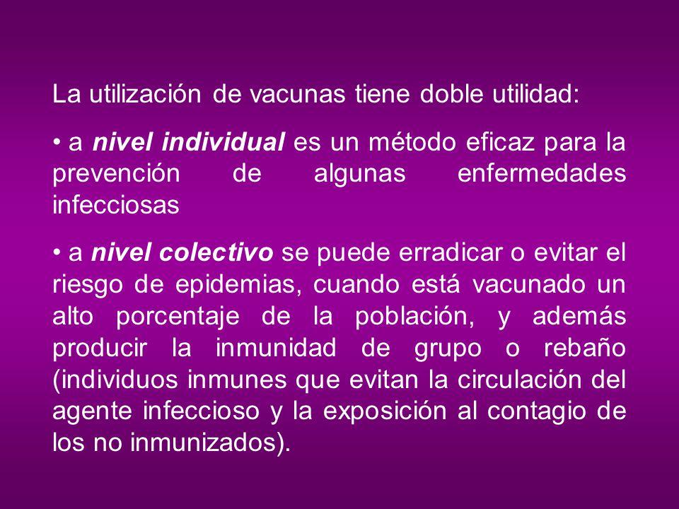 La utilización de vacunas tiene doble utilidad: