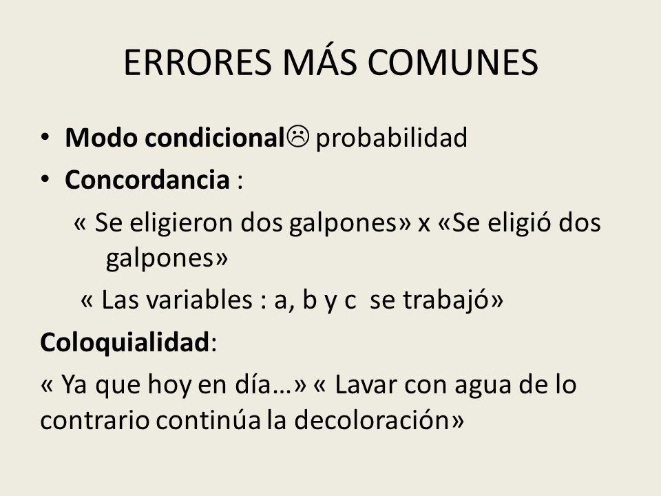 ERRORES MÁS COMUNES Modo condicional probabilidad Concordancia :