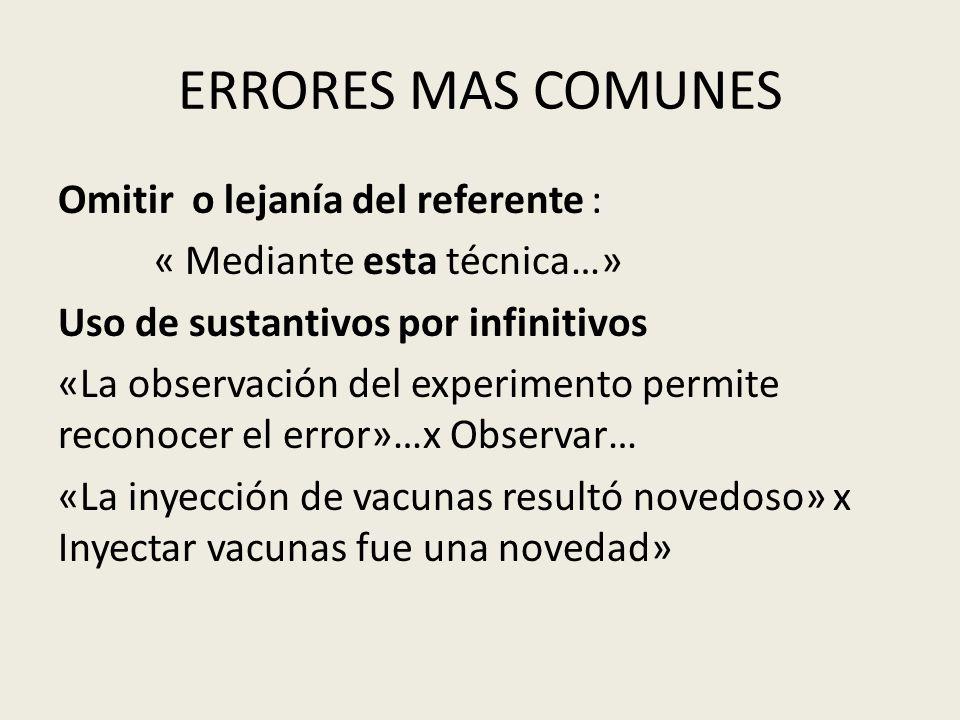 ERRORES MAS COMUNES