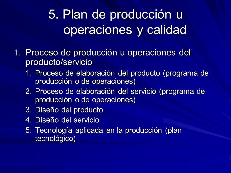 5. Plan de producción u operaciones y calidad
