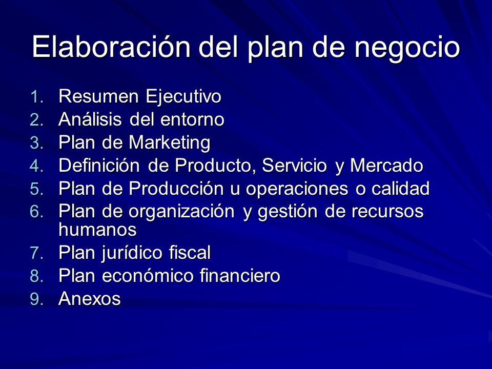 Elaboración del plan de negocio