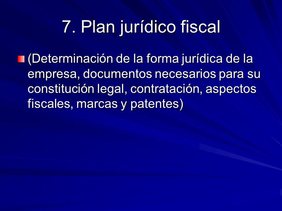 7. Plan jurídico fiscal