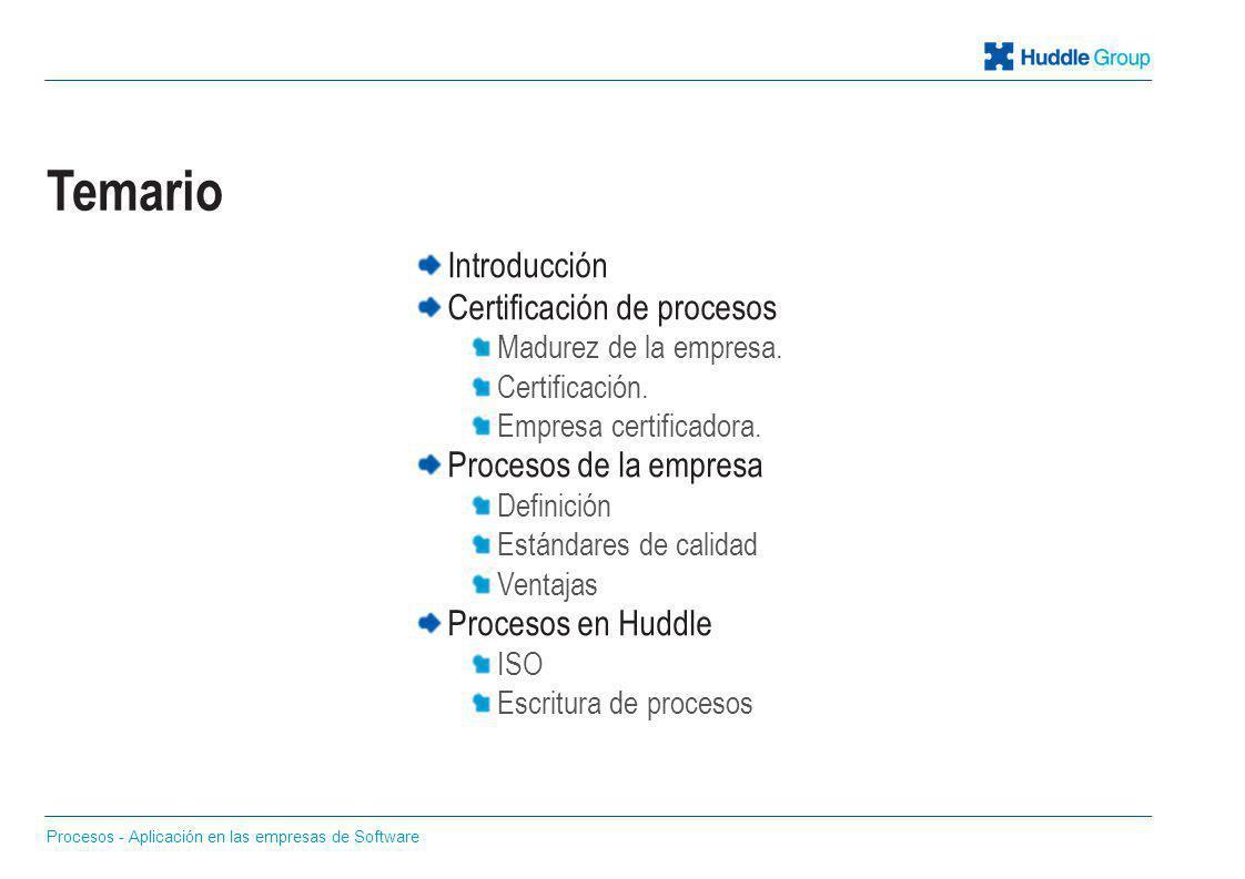 Temario Introducción Certificación de procesos Procesos de la empresa
