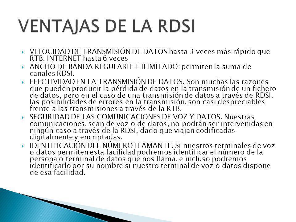 VENTAJAS DE LA RDSI VELOCIDAD DE TRANSMISIÓN DE DATOS hasta 3 veces más rápido que RTB. INTERNET hasta 6 veces.