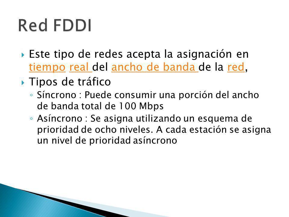 Red FDDI Este tipo de redes acepta la asignación en tiempo real del ancho de banda de la red, Tipos de tráfico.