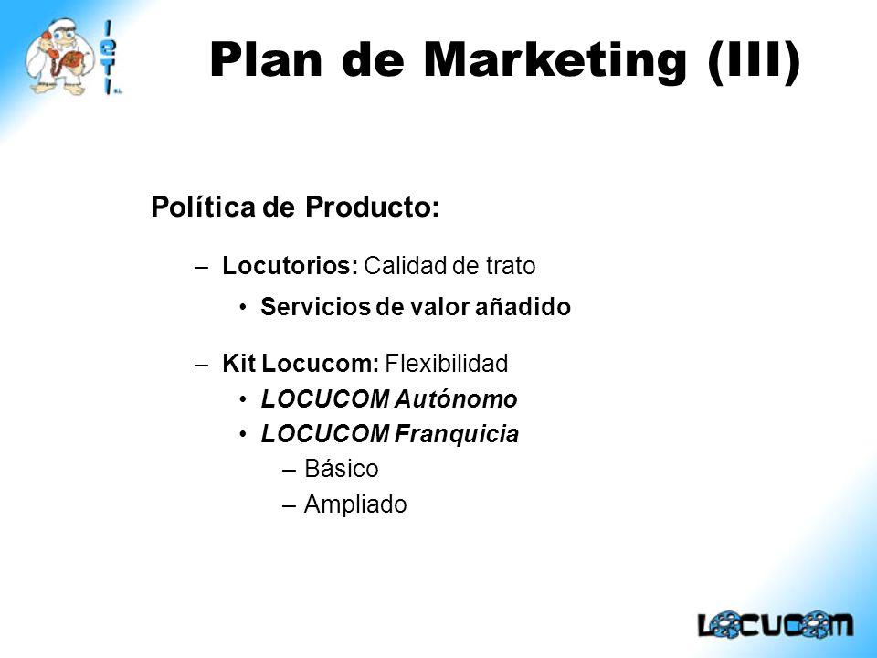 Plan de Marketing (III)