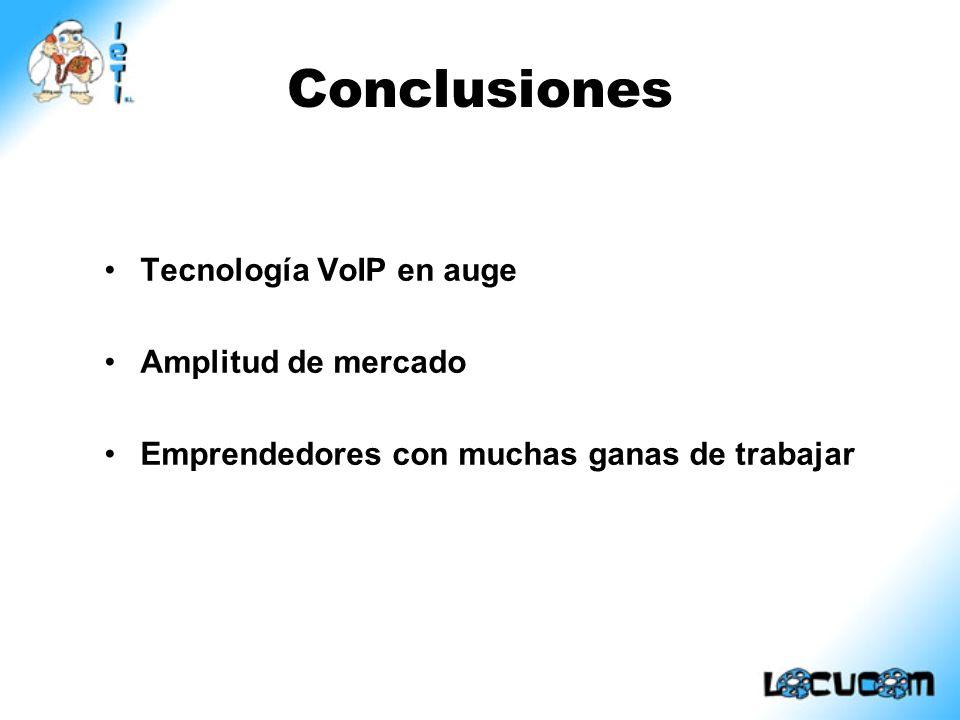 Conclusiones Tecnología VoIP en auge Amplitud de mercado