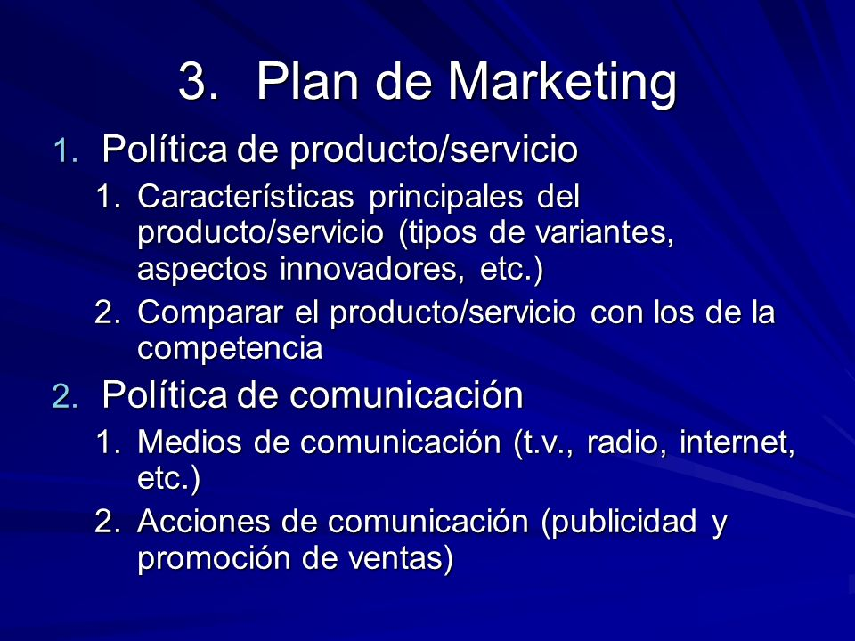 Plan de Marketing Política de producto/servicio
