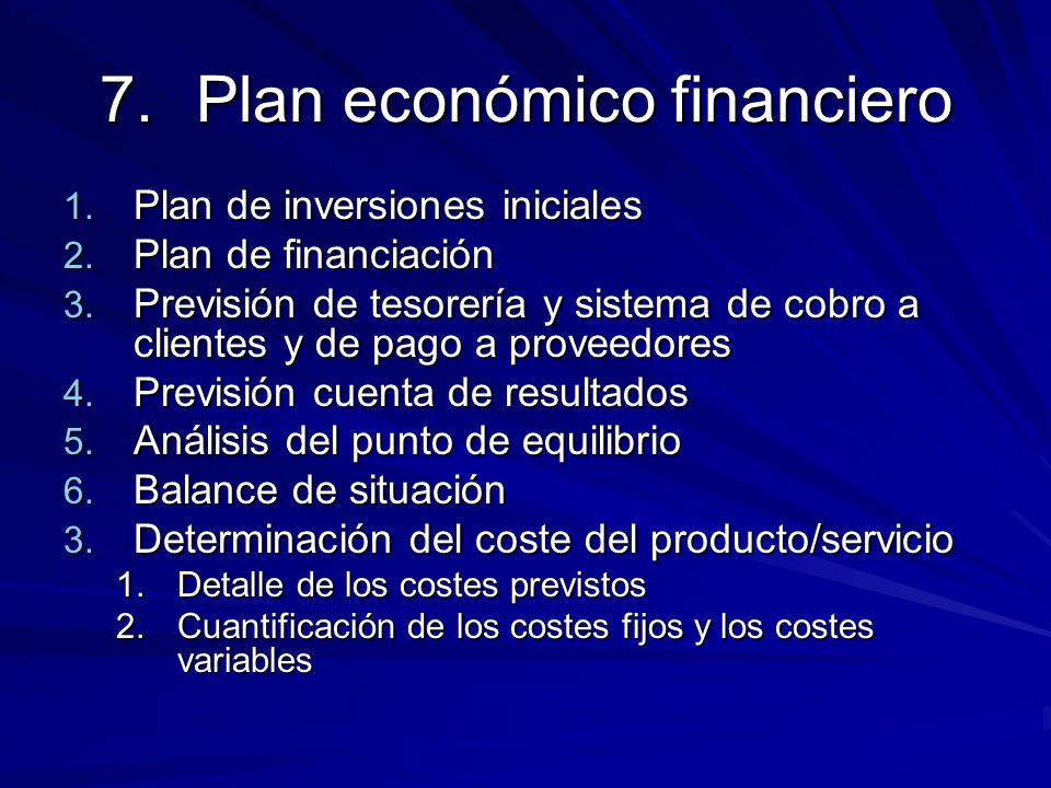 Plan económico financiero