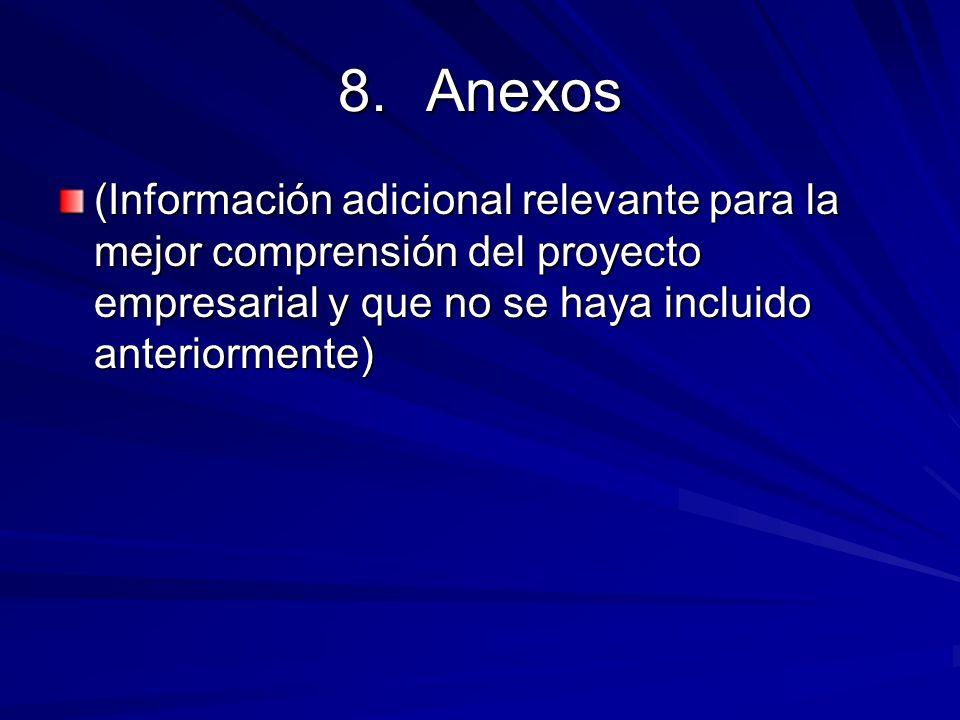 Anexos(Información adicional relevante para la mejor comprensión del proyecto empresarial y que no se haya incluido anteriormente)