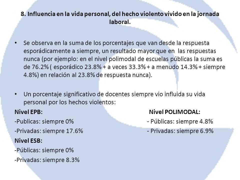 8. Influencia en la vida personal, del hecho violento vivido en la jornada laboral.