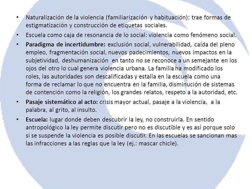 Naturalización de la violencia (familiarización y habituación): trae formas de estigmatización y construcción de etiquetas sociales.