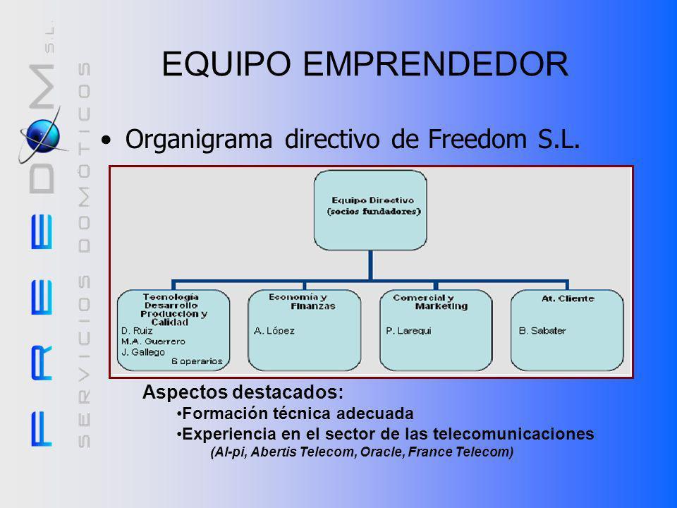 EQUIPO EMPRENDEDOR Organigrama directivo de Freedom S.L.