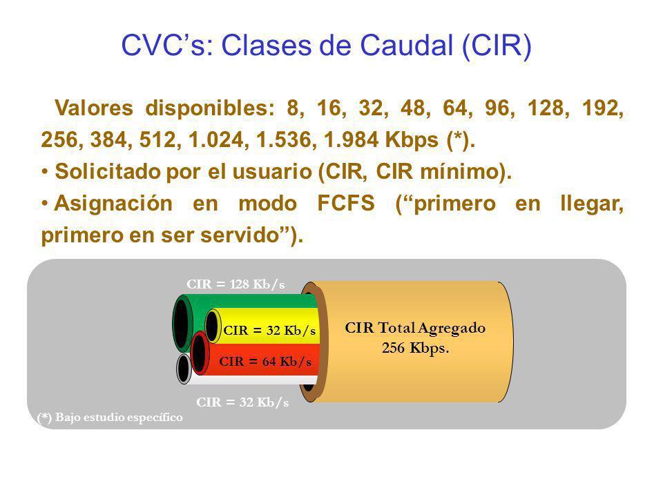 CVC's: Clases de Caudal (CIR)
