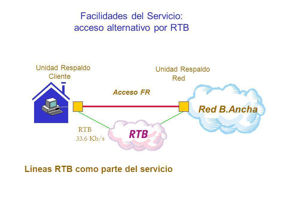 Facilidades del Servicio: acceso alternativo por RTB