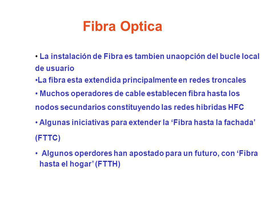 Fibra OpticaLa instalación de Fibra es tambien unaopción del bucle local de usuario. La fibra esta extendida principalmente en redes troncales.