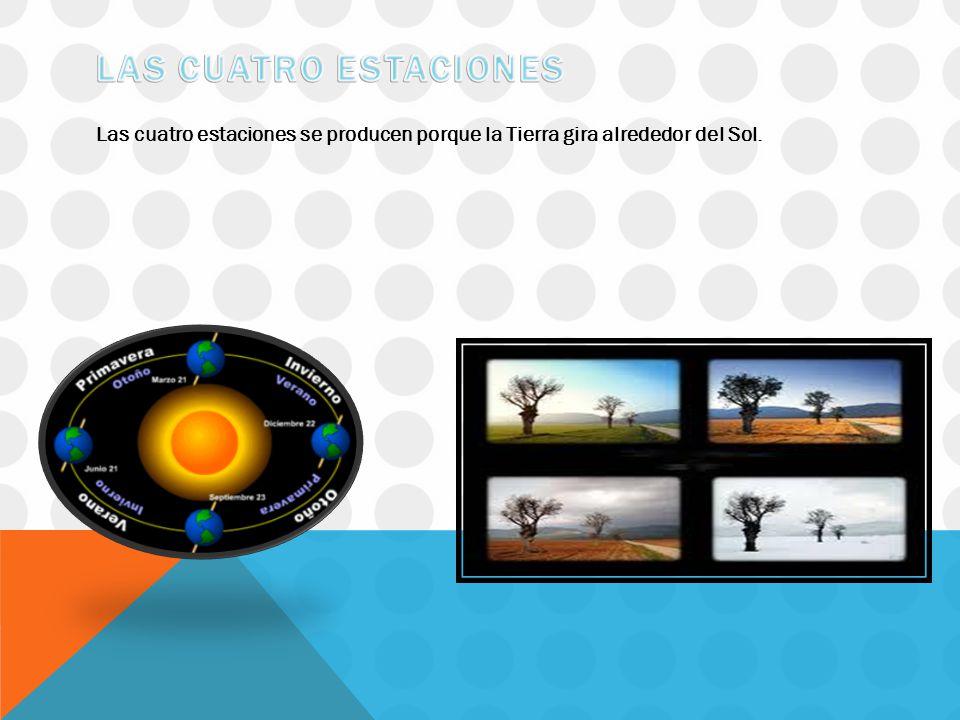 Las cuatro estaciones Las cuatro estaciones se producen porque la Tierra gira alrededor del Sol.
