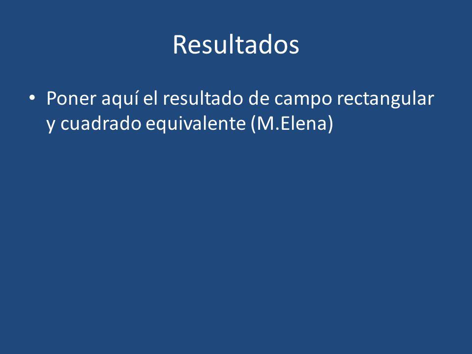 Resultados Poner aquí el resultado de campo rectangular y cuadrado equivalente (M.Elena)