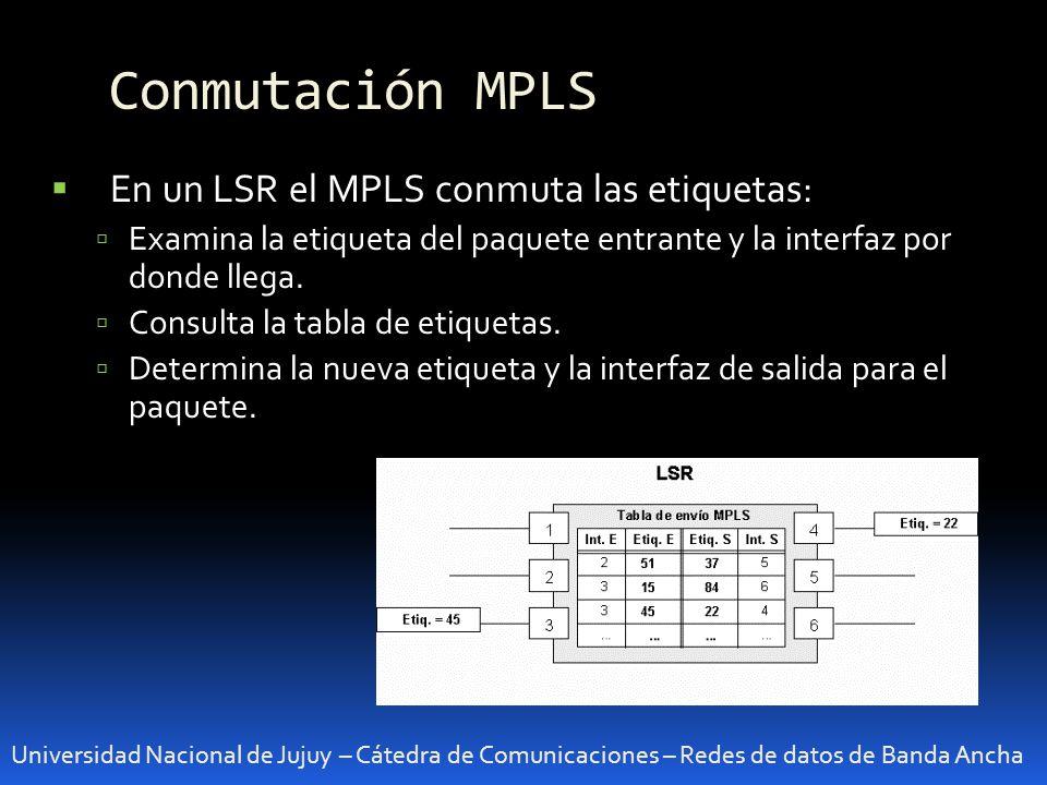 Conmutación MPLS En un LSR el MPLS conmuta las etiquetas: