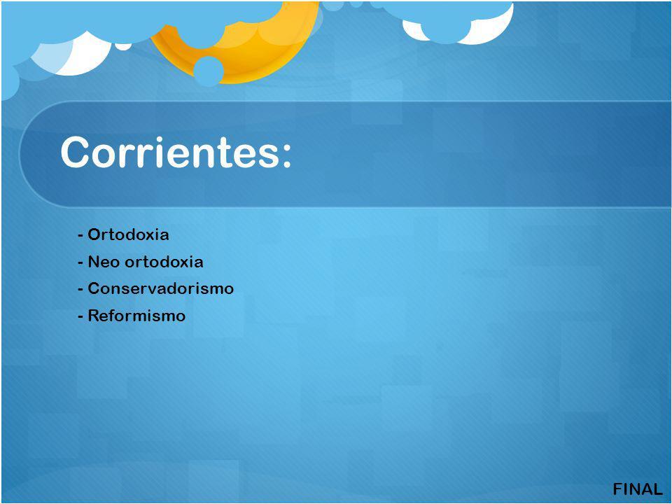 Corrientes: - Ortodoxia - Neo ortodoxia - Conservadorismo - Reformismo