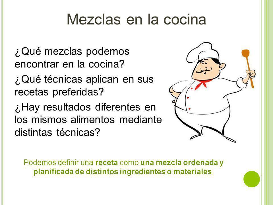 Mezclas en la cocina ¿Qué mezclas podemos encontrar en la cocina