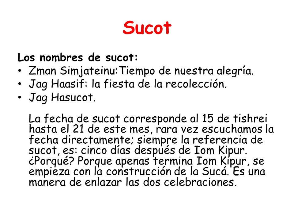 Sucot Los nombres de sucot: Zman Simjateinu:Tiempo de nuestra alegría.
