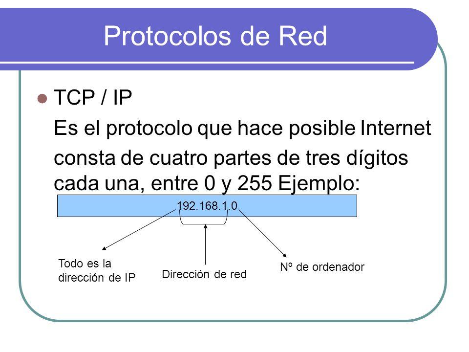 Protocolos de Red TCP / IP Es el protocolo que hace posible Internet
