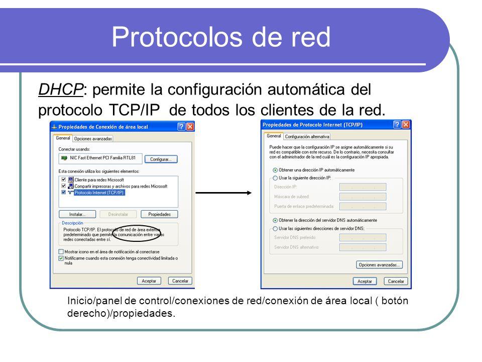 Protocolos de red DHCP: permite la configuración automática del protocolo TCP/IP de todos los clientes de la red.