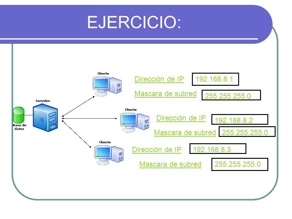 EJERCICIO: Dirección de IP 192.168.8.1 Mascara de subred 255.255.255.0