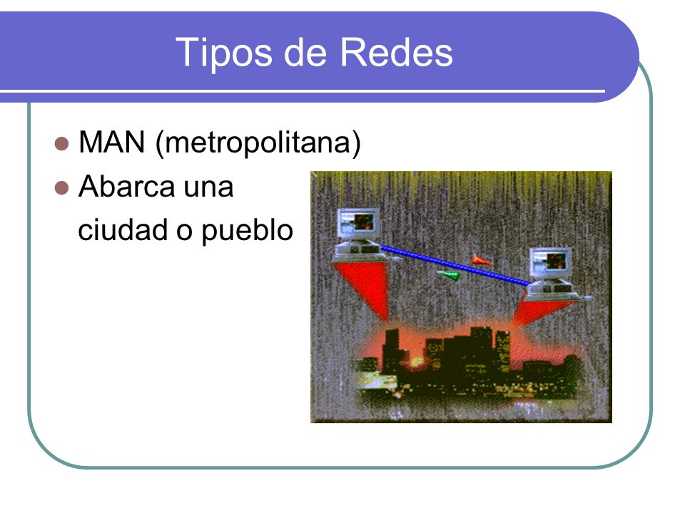 Tipos de Redes MAN (metropolitana) Abarca una ciudad o pueblo