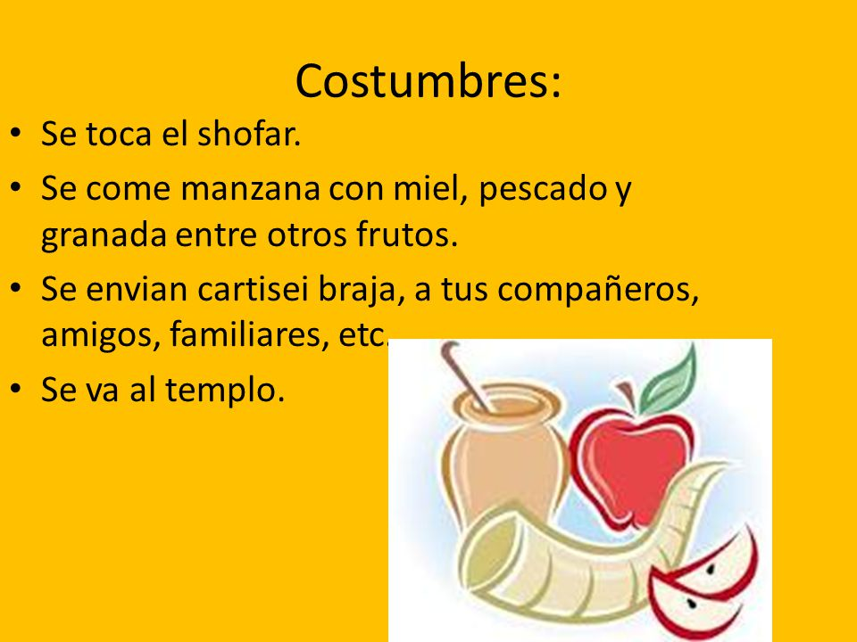 Costumbres: Se toca el shofar.