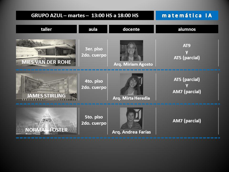 GRUPO AZUL – martes – 13:00 HS a 18:00 HS