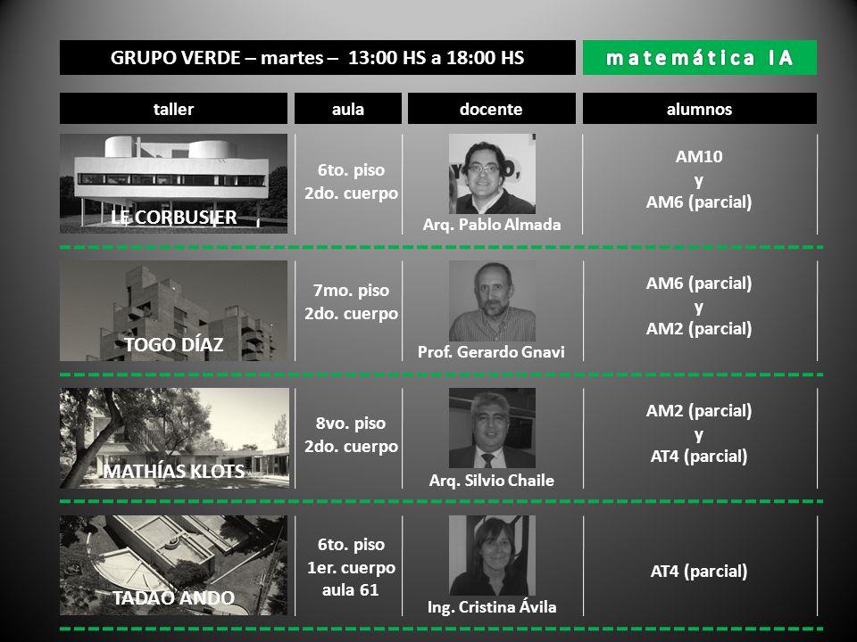 GRUPO VERDE – martes – 13:00 HS a 18:00 HS