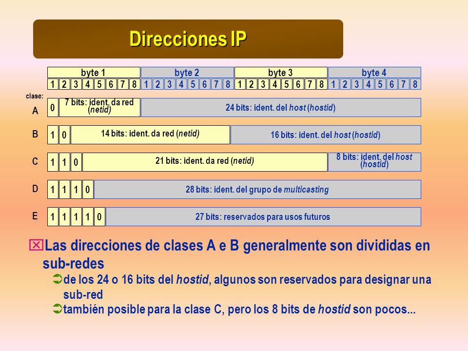 Direcciones IP byte 1. byte 2. byte 3. byte 4. 1. 2. 3. 4. 5. 6. 7. 8. 1. 2. 3. 4. 5.