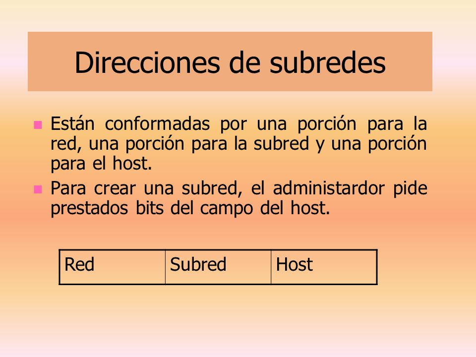 Direcciones de subredes