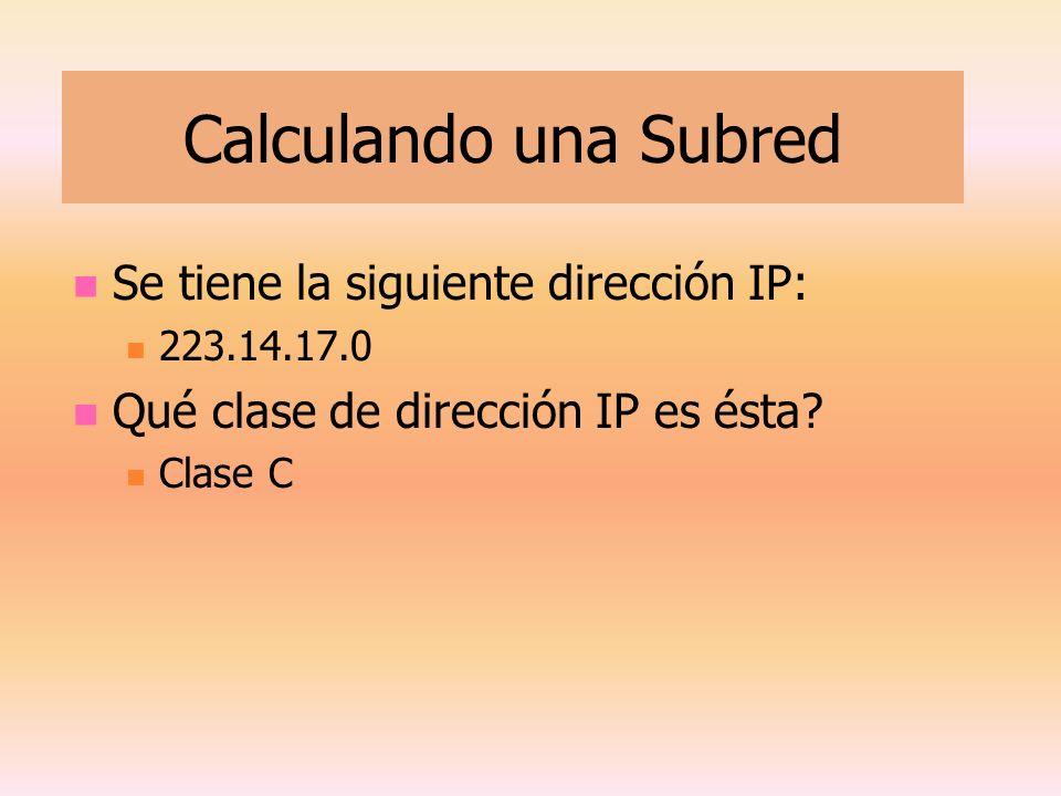 Calculando una Subred Se tiene la siguiente dirección IP: