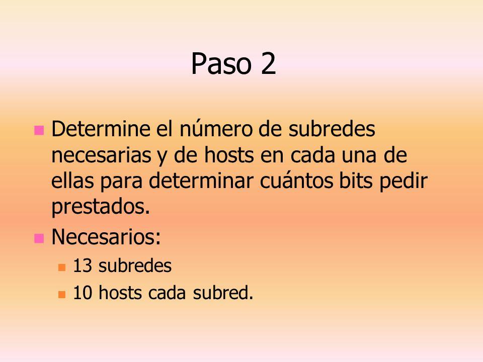 Paso 2 Determine el número de subredes necesarias y de hosts en cada una de ellas para determinar cuántos bits pedir prestados.