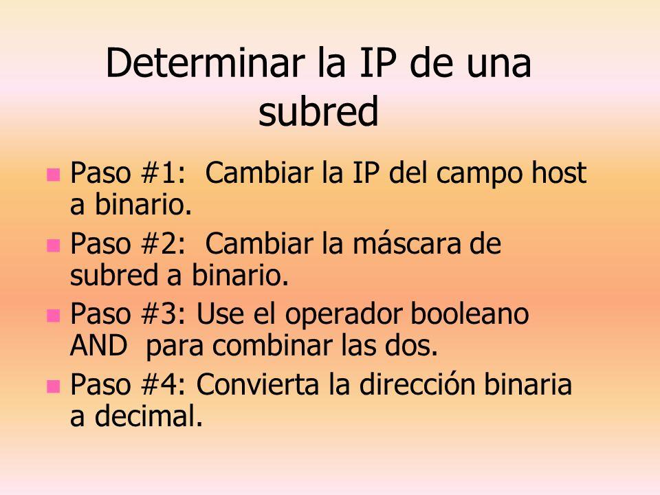 Determinar la IP de una subred